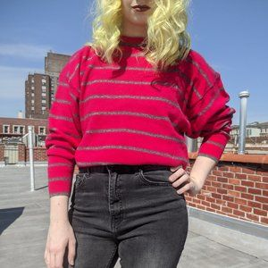 Vintage Pink Wool Striped Sweater